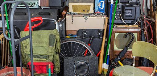 Vintage rummage junk pile storage area mess.
